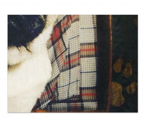 Detail Kissen mit Hundemotiv