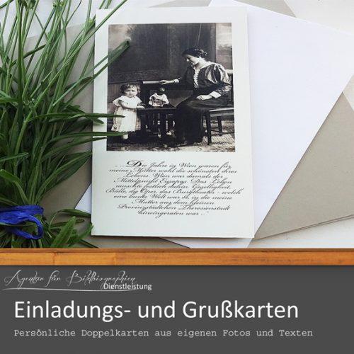 Persönliche Einladungs- und Grußkarten Agentur für Bildbiographien